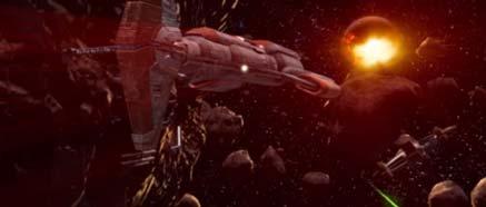 Obrázek vesmírné lodě Harbinger - útěk z Peragusu